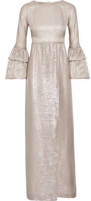 Merchant Archive Ruffled-trimmed Silk-blend Lamé Gown