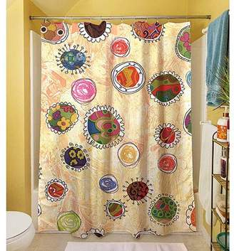 "Thumbprintz Funky Flowers Shower Curtain, 71"" x 74"""