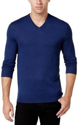Club Room Mens Merino Wool Heathered Pullover Sweater Blue L