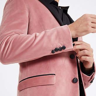 River Island Pink velvet skinny fit long sleeve blazer