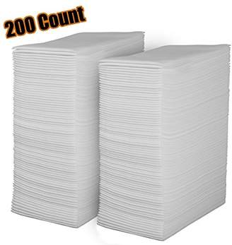 Linen Feel Disposable Guest Towels - Cloth Like White Paper Hand Napkins 200 Pack - Highly Absorbent