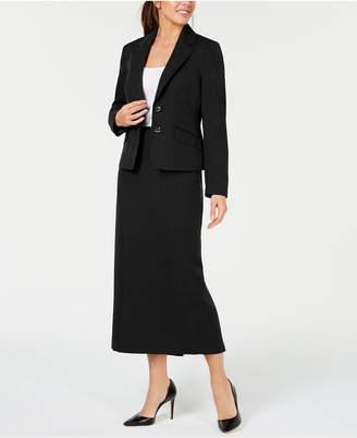 Le Suit Two-Button Glazed Melange Skirt Suit