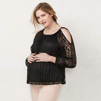 Lauren Conrad Maternity Cold-Shoulder Lace Top
