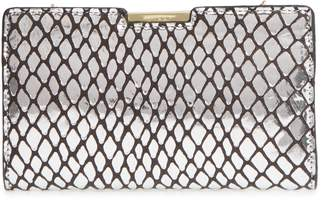 Milly Reptile Embossed Leather Frame Clutch