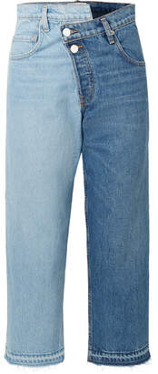 Monse Two-tone Distressed Mid-rise Straight-leg Jeans - Mid denim