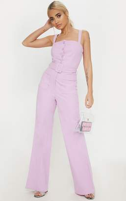 PrettyLittleThing Petite Lilac Wide Leg Square Pocket Button Jumpsuit
