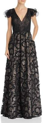 Aidan Mattox Sequin Embroidered Ruffle Sleeve Gown