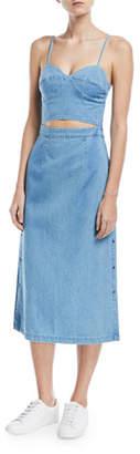 3x1 Peek-A-Boo Corset A-Line Denim Dress