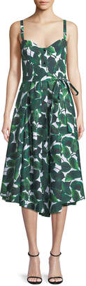 Milly Banana Leaf-Print Poplin Bustier Dress