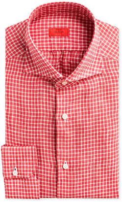 Isaia Gingham Check Linen Dress Shirt