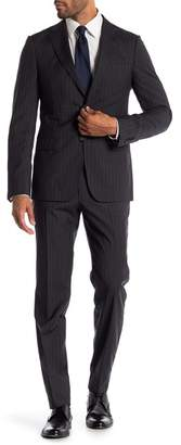 Ermenegildo Zegna Abito 2 Pezzi Dark Grey Stripe Two Button Notch Lapel Classic Fit Wool Suit
