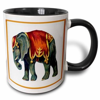 3dRose Framed Victorian Circus Elephant - Two Tone Black Mug, 11-ounce