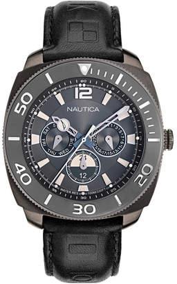 Nautica Men NAPBHS903 Bal Harbour Black/Gunmetal Leather Strap Watch
