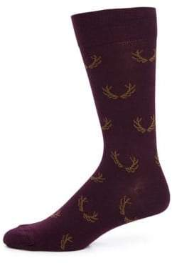 Saks Fifth Avenue COLLECTION Antler Printed Cotton Blend Socks