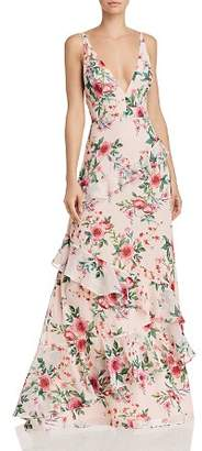 Fame & Partners Delany Floral-Print Ruffled Gown