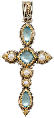 Konstantino Amphitrite Long Topaz & Pearl Cross Pendant Enhancer
