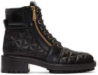 Balmain Black Quilted Army Ranger Zip Boots