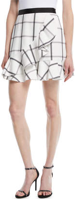 Self-Portrait Self Portrait Monochrome Check Frill Skirt