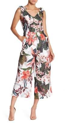 Romeo & Juliet Couture Floral Tie Shoulder Jumpsuit