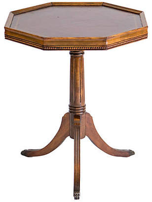 One Kings Lane Vintage Leather Top Pedestal Accent Table - Janney's Collection