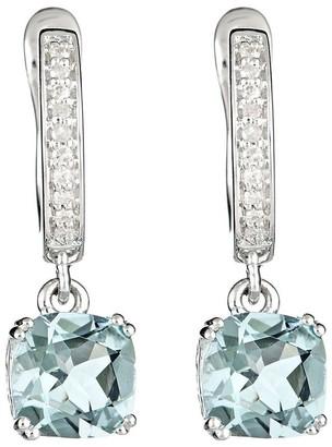 2.00 cttw Aquamarine & 1/10 cttw Diamond Earrings, Sterling