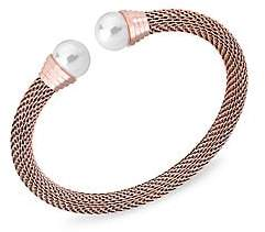 Majorica Women's 18K Rose Goldplated Stainless Steel & 10MM Organic Man-Made Pearl-Capped Bangle