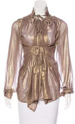 Plein Sud Jeanius Long Sleeve Metallic Top w/ Tags