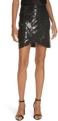 Alice + Olivia Fidela Draped Sequin Skirt