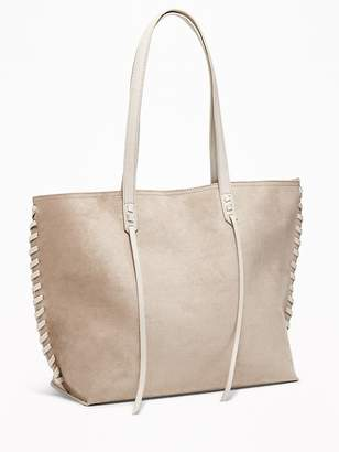 Old Navy Faux-Suede Whipstitched East-West Tote for Women