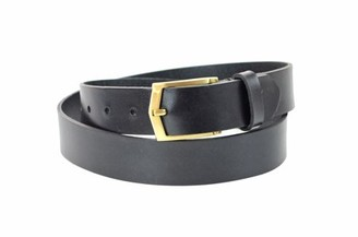 Montauk Leather Club 1-1/4 in. US Steer Hide Leather Men's Dress Belt with Brushed Gold Finish Angled Buckle