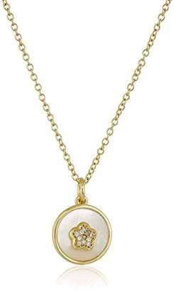 Little Miss Twin Stars Girls' Flower Girl 14k -Plated Coin Pearl with Cubic Zirconia Flower Chain Pendant Necklace