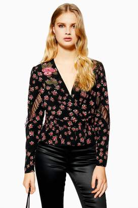 b9e644926a7ec4 Topshop Womens Bead Floral Plunge Blouse - Black