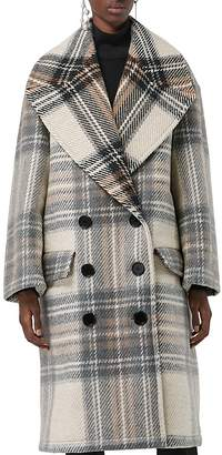 Burberry Halliday Plaid Wool Peacoat