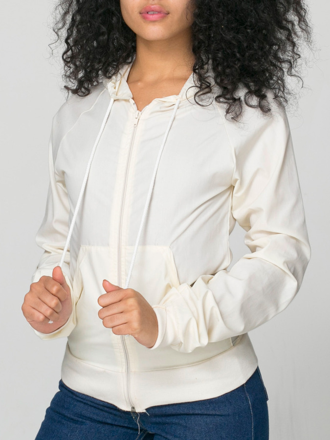 American Apparel Unisex Poplin Hooded Zip Jacket