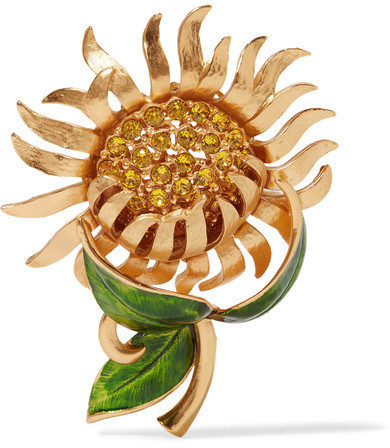 Dolce & GabbanaDolce & Gabbana - Gold-tone, Crystal And Enamel Brooch - one size