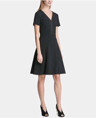 DKNY Short-Sleeve V-Neck A-Line Dress