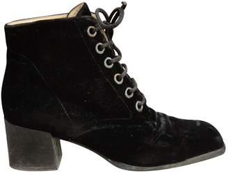 Saint Laurent Velvet lace up boots