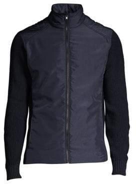 Belstaff Men's Abbott Mixed Media Zip Sweater - Faded Navy - Size Large