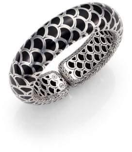 John Hardy Naga Enamel & Sterling Silver Wide Flex Cuff Bracelet