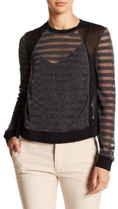 Chelsea and Walker Knit Cutout Metal Ring Accent Pullover