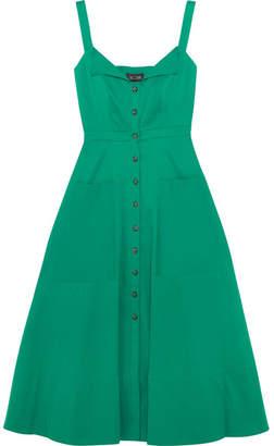 Saloni - Fara Stretch-cotton Dress - Dark green $430 thestylecure.com