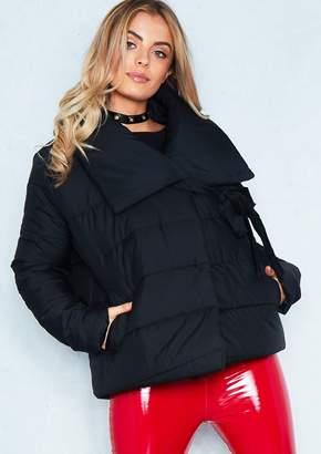 Missy Empire Missyempire Chloe Black Tie Neck Puffer Jacket