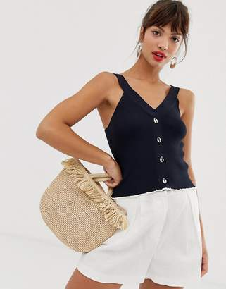 And other stories & knitted top with faux shell buttons in navy