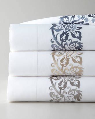 Sferra Full/Queen 406 Thread Count Plumes Embroidered Flat Sheet