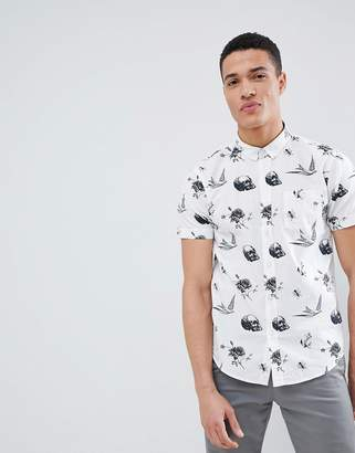 Brave Soul Skull And Bird Print Shirt