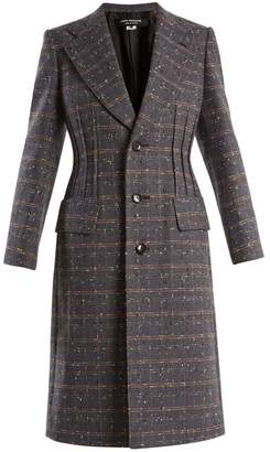 Junya Watanabe - Checked Single Breasted Wool Blend Coat - Womens - Navy Multi