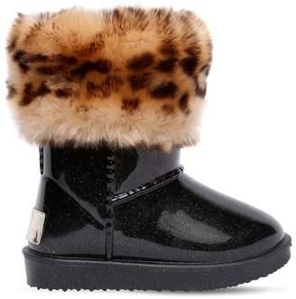 MonnaLisa Leopard Print Faux Fur & Rubber Boots