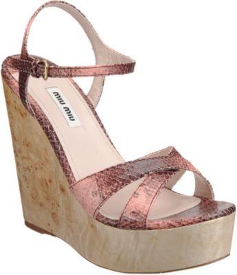 Miu Miu Lizard Stamped Platform Sandal