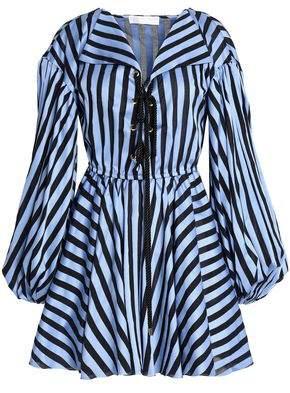 Caroline Constas Lace-Up Striped Cotton-Jacquard Mini Dress