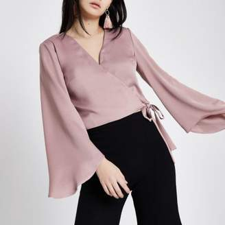 River Island Pink wrap long flare sleeve crop top